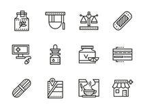 Medical black line icons. Pharmacy Stock Photos