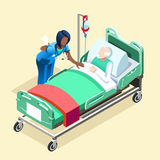 Medical Black Nurse Talking with Patient Vector Isometric People. Medical team group of black female nurse or doctor talking to elderly patient in bed stock illustration