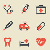 Medical black and red icon set. Vector illustration of medicine on light background Stock Photography