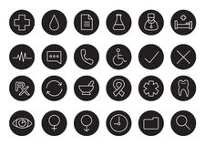 Medical black and white linear icons set Royalty Free Stock Photos