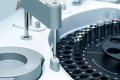 Medical laboratory centrifuge with test tubes with blood Royalty Free Stock Images