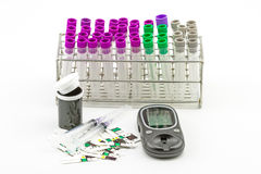 Medical Blood tube, test tube for laboratory empty on  rack and Stock Photo