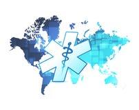 Medical blue map illustration design Stock Images