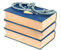 Medical book. Stethoscope and  medical books on white   background Royalty Free Stock Photos