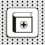 Medical book. Vector illustration.  Black and white image on a black and white background. Stock Image