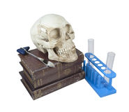 Medical Books with Skull and Test Tubes Stock Photography