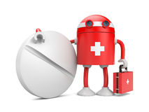 Medical bot with pill Royalty Free Stock Photos