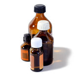 Medical bottle. Four medical bottles brown glass Royalty Free Stock Photography