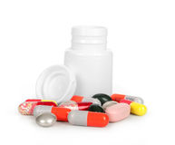 Medical bottle and medical pills Stock Image