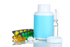 Medical bottles, ampoule and pills Stock Images