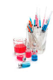 Medical bottles, ampoule, syringe and pills Royalty Free Stock Photo