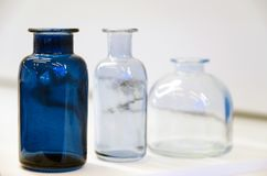 Medical bottles for chemistry. Laboratory glassware for the pharmaceutical industry stock image