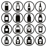 Medical bottles icon set. Stock Photo