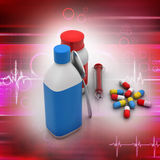 Medical bottles and pills Stock Photo