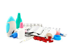 Medical bottles and pills on white background. Stock Photography