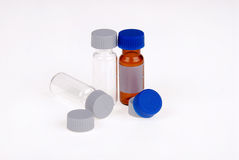Medical bottles with plastic caps Stock Image