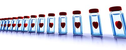 Medical bottles with red hearts Stock Photography