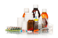 Medical bottles and tablets Royalty Free Stock Photo