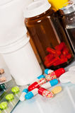 Medical bottles and tablets Royalty Free Stock Photography