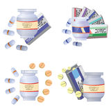 Medical bottles, tubes and pills Stock Photography