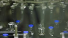 Medical bottles wits pills production, giant factory stock video footage