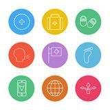 Medical , breifcase , tablets , speak , medical , foot , mobile. Navigation , globe, directions,icon, vector, design, flat, collection, style, creative, icons royalty free illustration