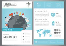 Medical Brochure Design Template. Healthcare and Medical concept. Flyer with medicine icons. Vector Royalty Free Illustration