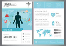 Medical Brochure Design Template. Healthcare and Medical concept. Flyer with medicine icons. Vector Stock Illustration