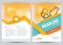 Medical Brochure Flyer Layout Template, A4 Size Stock Photos