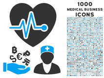 Medical Business Icon with 1000 Medical Business Icons. Medical Business vector bicolor icon with 1000 medical business icons. Set style is flat pictograms, blue Royalty Free Stock Image