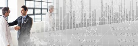 Medical business meeting with grey finance graph transition. Digital composite of Medical business meeting with grey finance graph transition Royalty Free Stock Image
