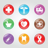 Medical button. Medical glossy buttons, vector web icons royalty free illustration