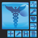 Medical Button Icon Set Royalty Free Stock Images