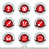 Medical button series. Set of nine detailed medical metallic buttons from series Stock Image
