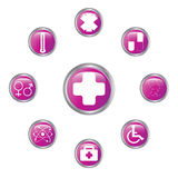 Medical button set Stock Photos