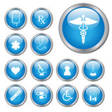 Medical Buttons. Blue medical buttons on a white background Royalty Free Stock Photo