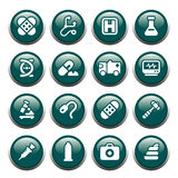 Medical buttons. 16 medical theme icons on green shiny buttons royalty free illustration