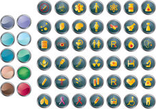 Medical buttons. A set of medical and hospital related icons/buttons. Easy to edit, manipulate or resize. Plus bonus:extra ten colors of backgrounds of buttons Vector Illustration