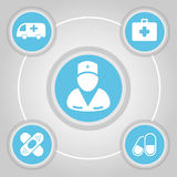 Medical Buttons and Signs Vector Royalty Free Stock Images
