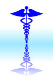 Medical caduceus sign. Blue vector illustration, look for more great images in my portfolio vector illustration