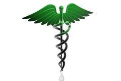 MEDICAL CADUCEUS SIGN in green vector illustration
