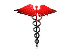 MEDICAL CADUCEUS SIGN in red Stock Photos