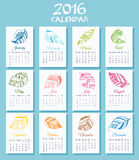 Medical calendar for new 2016 year week starts on Sunday. Royalty Free Stock Photo