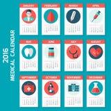 Medical calendar for new 2016 year week starts on Sunday. Stock Photos