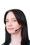 Medical call center concept - girl with headphone Stock Photo