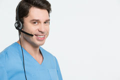 Medical call center concept stock images
