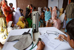 Medical camp. People are gathering during the medical camp in the remote village of Jharkhand Royalty Free Stock Photo