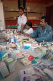 Medical camp. Medical staffs are attending pilgrims of Gangasagar fair at a camp in Kolkata Stock Photo