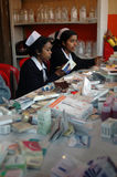 Medical camp. Medical staffs are attending pilgrims of Gangasagar fair at a camp in Kolkata Royalty Free Stock Photography