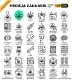 Medical cannabis concept line icons vector illustration